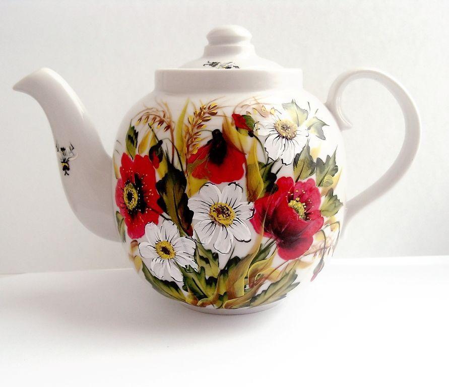 Teapot painted 'Summer meadow', Teapots & Coffeepots handmade, , Фото №1