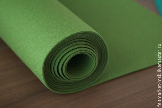 Фетр 3 мм Зеленый (Китай) Размер листа 1х1 м Стоимость 700 руб/м. Под заказ любой цвет 3 мм фетра метражом -при ширине 1 м.