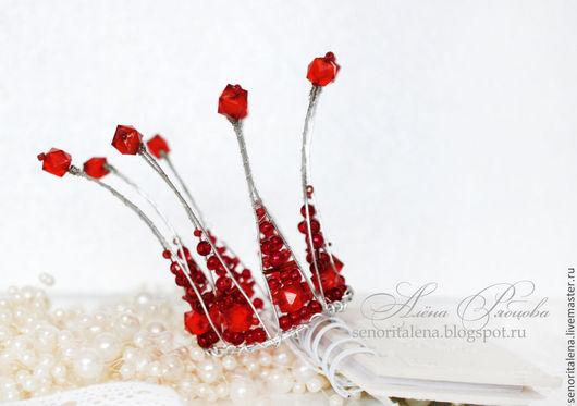 """Диадемы, обручи ручной работы. Ярмарка Мастеров - ручная работа. Купить Корона """"Рубиновая сказка"""". Handmade. Красный цвет"""