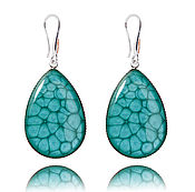 Украшения handmade. Livemaster - original item Turquoise drop earrings in silver