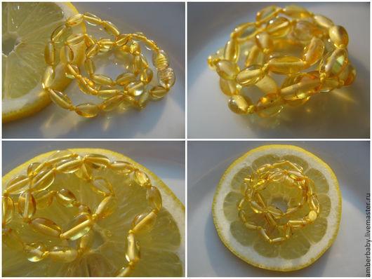 """Детская бижутерия ручной работы. Ярмарка Мастеров - ручная работа. Купить Детские янтарные бусики """"Лимонная долька"""" (полированное). Handmade."""