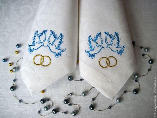 Свадебные аксессуары Свадебные салфетки с вышивкой свадебная вышивка Подарок на свадьбу