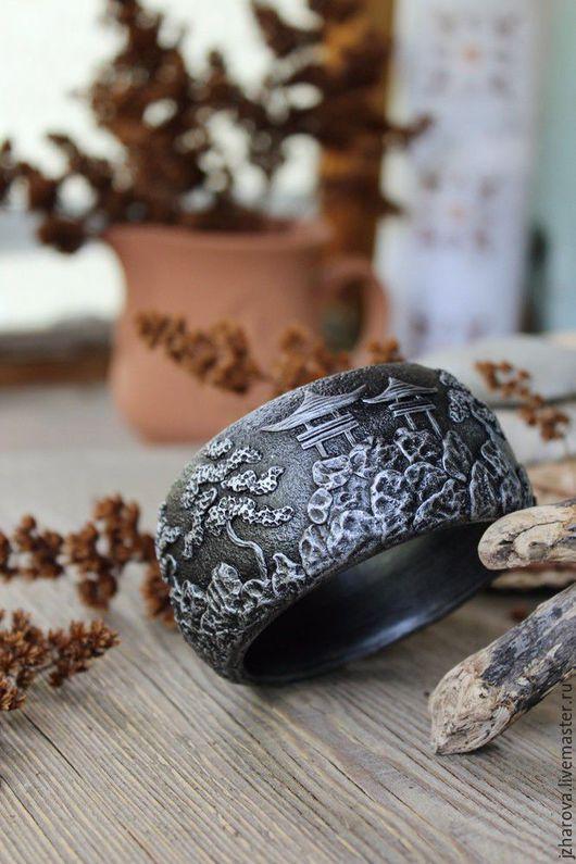 Браслеты ручной работы. Ярмарка Мастеров - ручная работа. Купить Браслет широкий из полимерной глины Япония. Handmade. Браслет