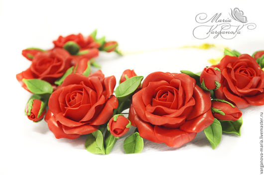 Колье, бусы ручной работы. Ярмарка Мастеров - ручная работа. Купить Колье с розами из полимерной глины Fimo. Handmade.