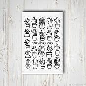 Открытки ручной работы. Ярмарка Мастеров - ручная работа Открытка - раскраска с кактусами. Handmade.