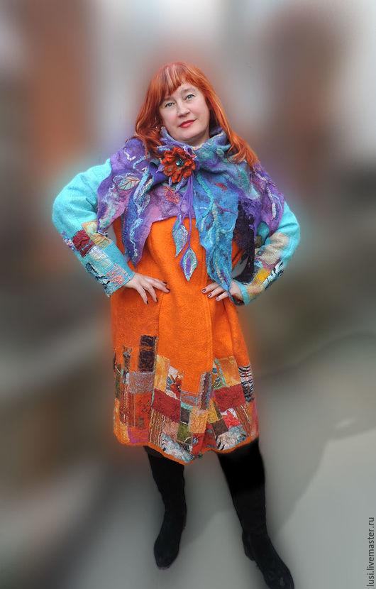 Верхняя одежда ручной работы. Ярмарка Мастеров - ручная работа. Купить Оранжевая любовь. Handmade. Рыжий, пальто из шерсти, оранжевый