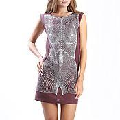 """Одежда ручной работы. Ярмарка Мастеров - ручная работа Платье коричневое """"Тело"""" с  вышивкой 11552#Скидка 20 %. Handmade."""