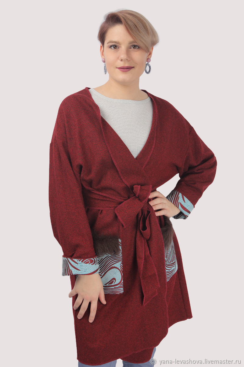 The Burgundy cardigan coat with natural fur, Cardigans, Moscow,  Фото №1