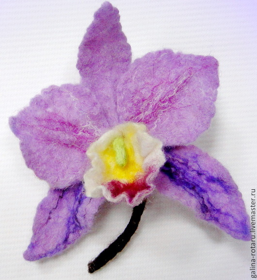 Броши ручной работы. Ярмарка Мастеров - ручная работа. Купить Брошь валяная Прекрасная орхидея. Handmade. Валяние, валяная орхидея