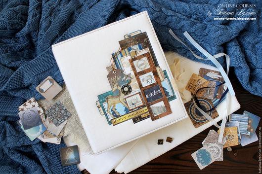 Фотоальбомы ручной работы. Ярмарка Мастеров - ручная работа. Купить Тематический альбом. Handmade. Тёмно-синий, новогодняя фотосессия, скрапб
