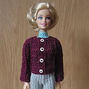 Куклы и игрушки ручной работы. Ярмарка Мастеров - ручная работа Бордовый жакет с рельефными полосами. Handmade.