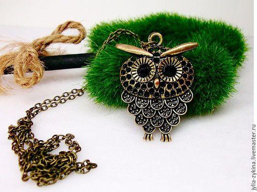 Кулон на цепочке сова - это украшение на шею. Кулон станет замечательным подарком кулон, кулон с камнем, кулон кулон кулон, необычный кулон, ручной работы, авторский кулон, красивый кулон, небольшой к