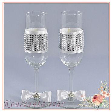 Свадебный салон ручной работы. Ярмарка Мастеров - ручная работа Бокалы: Свадебные бокалы  с кристаллами. Handmade.