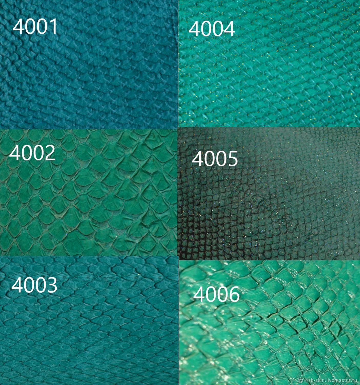Оттенки зелёного цвета. Представлены образцы кожи кеты и сёмги, глянцевая плотная и волокнистая мягкая.