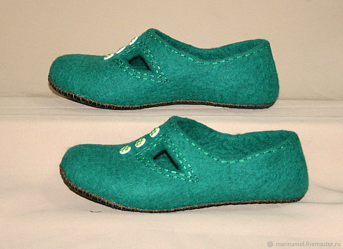 Women's felted Slippers Emerald, Slippers, Miass,  Фото №1