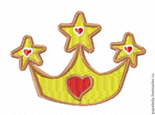 Иллюстрации ручной работы. Ярмарка Мастеров - ручная работа. Купить корона и сердечки для юной принцессы дизайн машинной вышивки. Handmade.