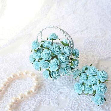 Цветы и флористика. Ярмарка Мастеров - ручная работа Бумажные розы 1,5 см Бирюзовые Цветы для скрапбукинга. Handmade.