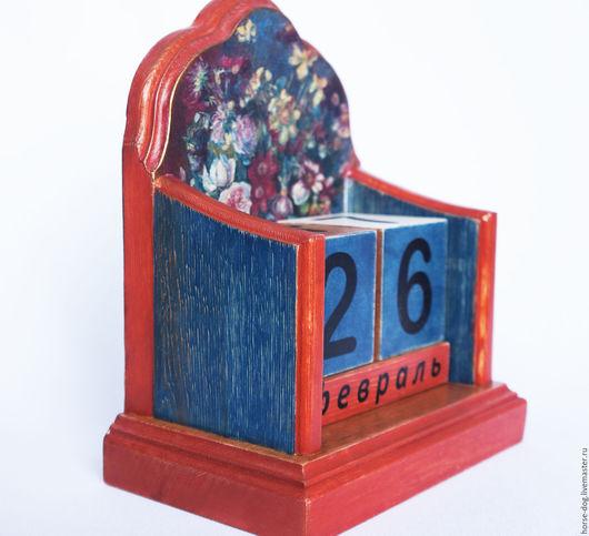 """Календари ручной работы. Ярмарка Мастеров - ручная работа. Купить Календарь """"Ваза с цветами"""". Handmade. Синий, календарь декупаж"""