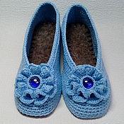 """Обувь ручной работы. Ярмарка Мастеров - ручная работа Тапочки-балетки """"Незабудка"""". Handmade."""