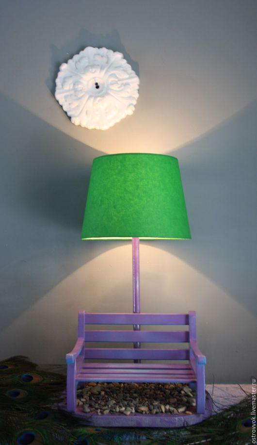 Освещение ручной работы. Ярмарка Мастеров - ручная работа. Купить На скамейке сидели.... Handmade. Зеленый, зеленая лампа