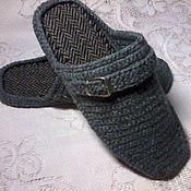 handmade. Livemaster - original item Home men`s Slippers - flip flops ( grey ). Handmade.