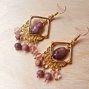 Украшения handmade. Livemaster - original item Boho pink ethnic earrings with pink stones Scythian bride. Handmade.