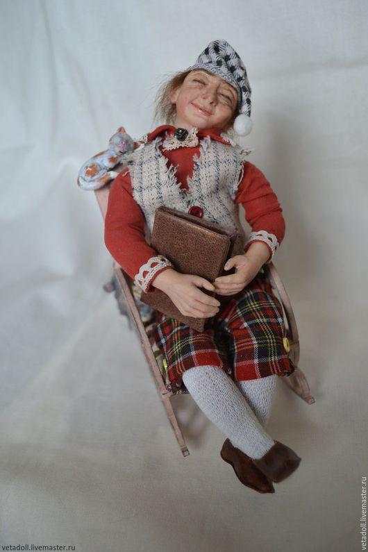 Коллекционные куклы ручной работы. Ярмарка Мастеров - ручная работа. Купить Гном Соня. Handmade. Бордовый, текстиль