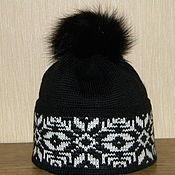 Аксессуары handmade. Livemaster - original item Hat lapel with Norwegian pattern and fur POM-POM. Handmade.