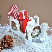 Подарки к праздникам ручной работы. Ярмарка Мастеров - ручная работа Рождественские Сани (маленькие). Handmade.