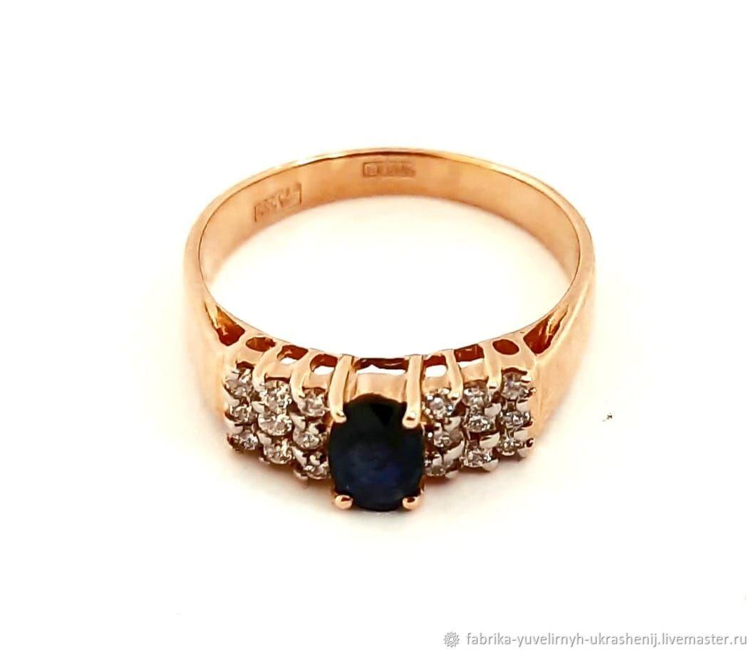 Золотое кольцо 585 с природным сапфиром и бриллиантами, Кольца, Москва,  Фото №1