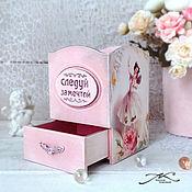 Канцелярские товары handmade. Livemaster - original item Wooden pencil case with a box decoupage Ballerinas pink roses delicate. Handmade.