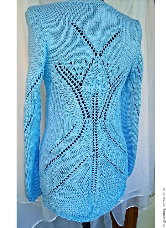 Кофты и свитера ручной работы. Ярмарка Мастеров - ручная работа. Купить Ажурный свитер небесного цвета. Handmade. Голубой, свитер