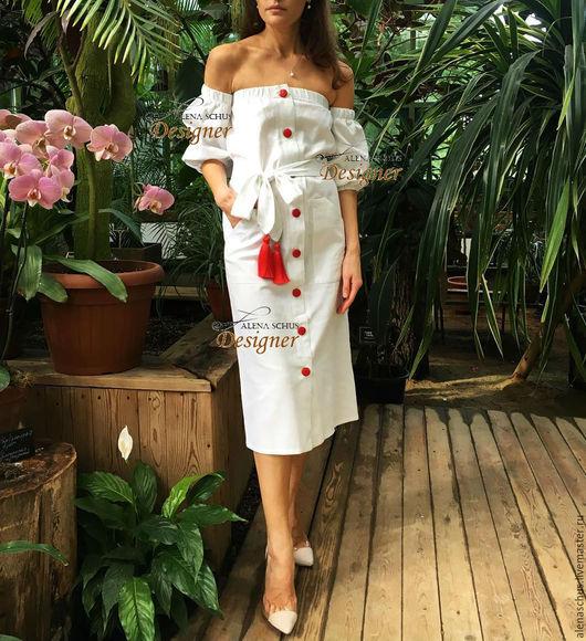 Платья ручной работы. Ярмарка Мастеров - ручная работа. Купить Сарафан с кисточками. Handmade. Белый, льняное платье, льняные изделия