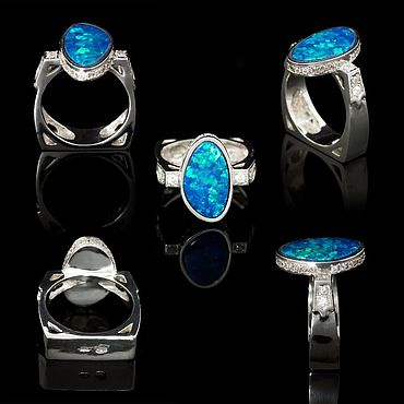 Decorations handmade. Livemaster - original item Silver ring with Australian opal. Handmade.