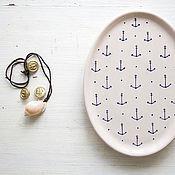 Посуда handmade. Livemaster - original item Marine style. Oval serving dish, ceramic. Handmade.