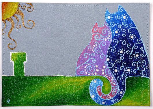 Обложки ручной работы. Ярмарка Мастеров - ручная работа. Купить Коты на крыше - Обложка на паспорт. Handmade. Кошки, кот