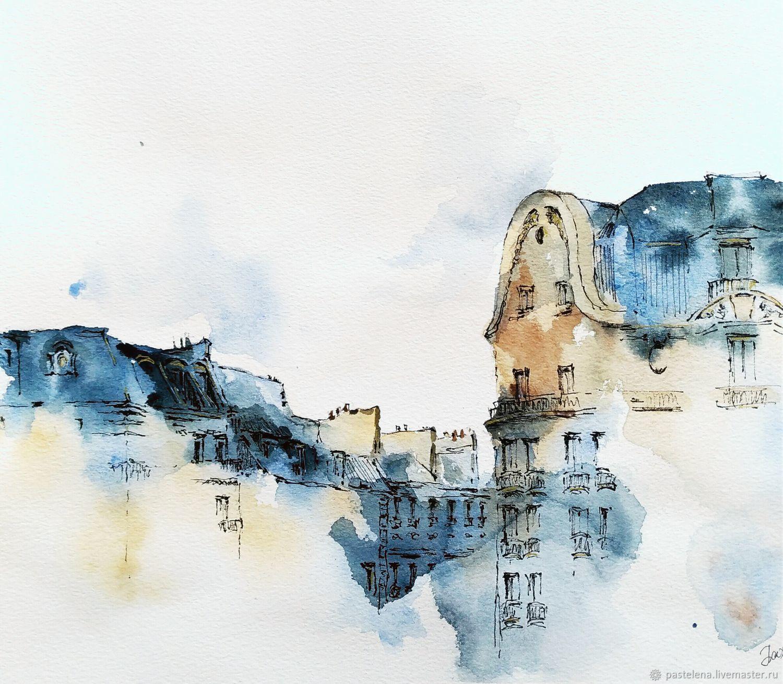 Cityscape watercolor Paris Silhouettes (blue beige Indigo), Pictures, ,  Фото №1