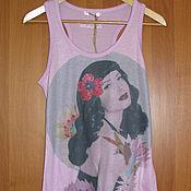Винтаж handmade. Livemaster - original item Pink t-shirt top France Kaporal, t-shirt alcoholic. Handmade.