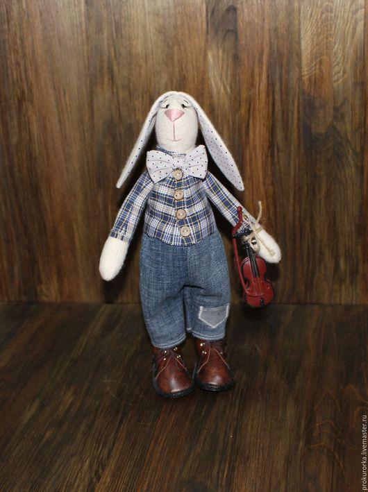 Куклы Тильды ручной работы. Ярмарка Мастеров - ручная работа. Купить Заяц-скрипач. Handmade. Серый, зайка, заяц игрушка