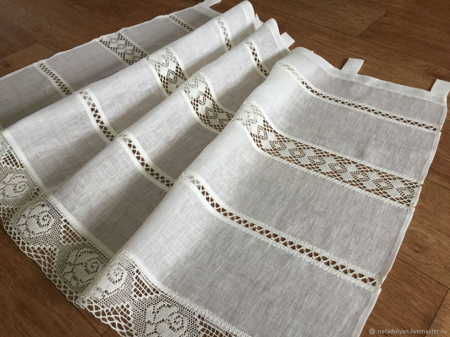 Linen curtain ' Lace with loops', Curtains, Ivanovo,  Фото №1