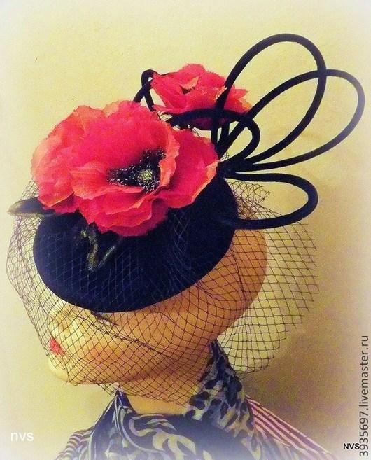 Шляпы ручной работы. Ярмарка Мастеров - ручная работа. Купить шляпка таблетка с маками. Handmade. Черный, шляпка таблетка