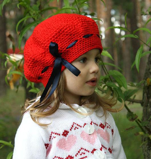 Шапки и шарфы ручной работы. Ярмарка Мастеров - ручная работа. Купить Алый беретик для девочки. Handmade. Ярко-красный