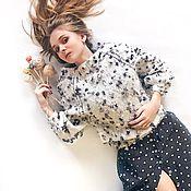"""Одежда ручной работы. Ярмарка Мастеров - ручная работа Вязаный свитер из мохера """"Богем"""" белый. Handmade."""