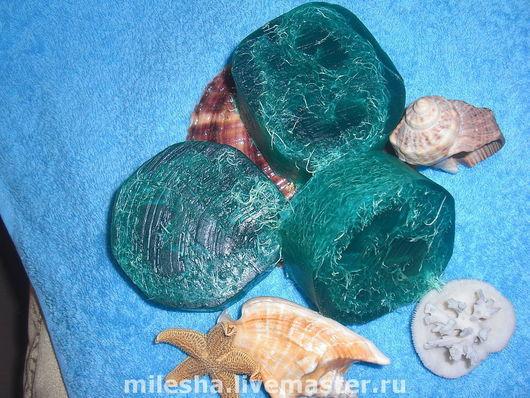 Натуральное глицериновое мыло-мочалка, сваренное с нуля с люфой
