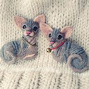 Куклы и игрушки ручной работы. Ярмарка Мастеров - ручная работа Брошки котята сфинкса. Handmade.