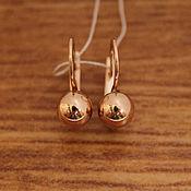 Золотые серьги - шарики, золото 585