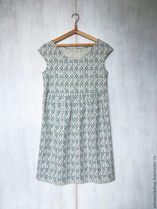 Платья ручной работы. Ярмарка Мастеров - ручная работа. Купить Платье из набивного льна. Handmade. Бежевый, летнее платье