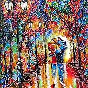 """Картины и панно ручной работы. Ярмарка Мастеров - ручная работа """"Двое под одним зонтом"""" Витражная роспись стекла. Handmade."""