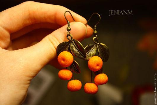"""Серьги ручной работы. Ярмарка Мастеров - ручная работа. Купить Серьги """"Мандарины на веточках"""". Handmade. Оранжевый, Новый Год"""