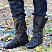 Обувь ручной работы handmade. Livemaster - original item boots loafer made from textured leather-bitter chocolate unisex. Handmade.